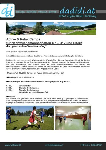 Active & Relax Camps Für Nachwuchsmannschaften U7