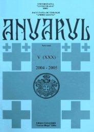 ANUARUL ACADEMIC 2004-2005 - Facultatea de Teologie