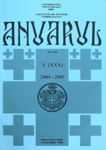 """ANUARUL ACADEMIC 2004-2005 - Facultatea de Teologie """"Andrei ..."""