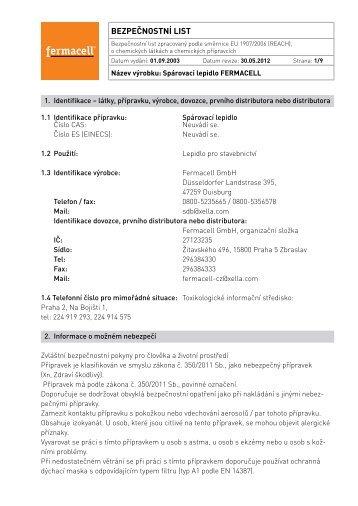 Spárovací lepidlo fermacell - bezpečnostní list