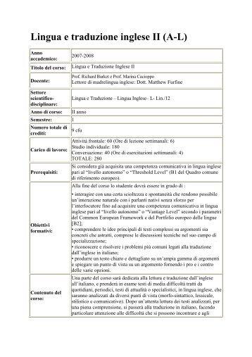 Lingua e traduzione inglese II (AL) - Unrestrictedarea.com