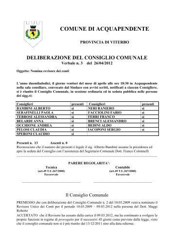 n. 3_26.4.2012_Nomina revisore dei conti - Comune di ...
