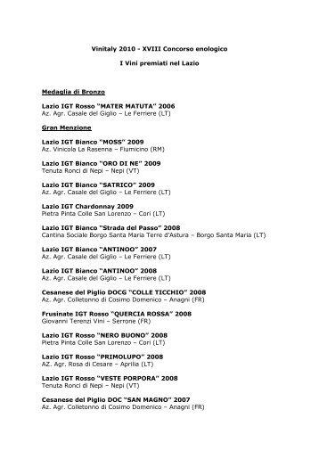 Vinitaly 2010 - XVIII Concorso enologico I Vini premiati nel ... - Arsial