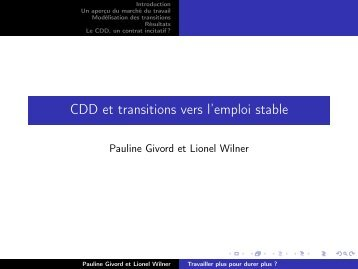 CDD et transitions vers l'emploi stable - COE