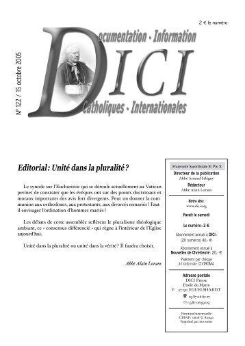 Editorial : Unité dans la pluralité ? - Dici