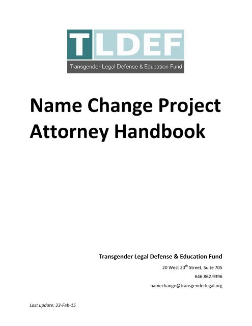Name Change Project Attorney Handbook - Transgender Legal