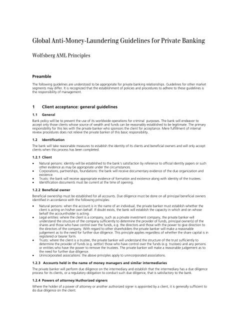 Global Anti-money-laundering Guidelines For Private Banking