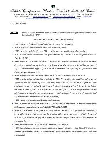 Relazione tecnico-finanziaria inerente la contrattazione integrativa ...