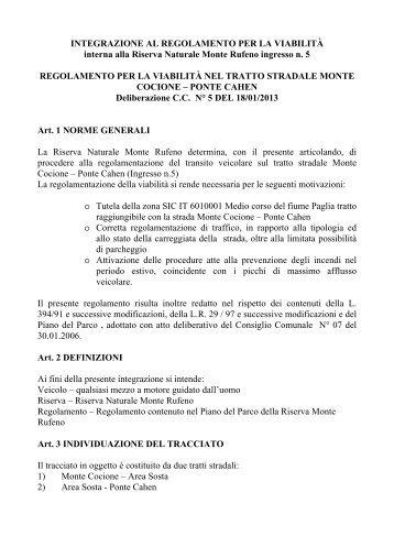 regolamento per la viabilità nel tratto stradale monte cocione ...