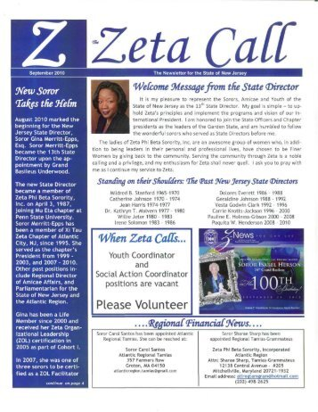 September 2010 - Zeta Phi Beta Sorority, Inc. - State Of New Jersey