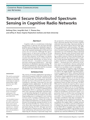 Toward Secure Distributed Spectrum Sensing in Cognitive Radio ...