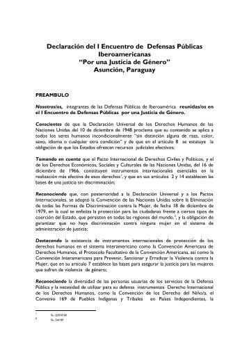 Declaracion Del I Encuentro De Defensas Publicas Iberoamericanas