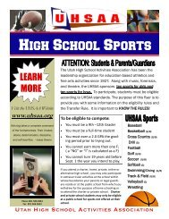 UHSAA Eligibility Policies