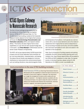 ICTAS Opens Gateway to Nanoscale Research - Institute for Critical ...