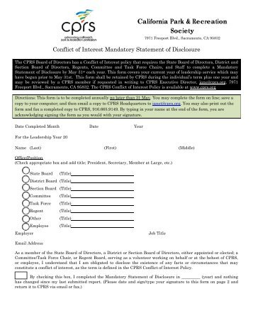 Free Business Letter Template » disclosure form conflict of interest ...