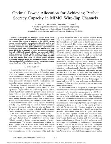 Optimal Power Allocation for Achieving Perfect Secrecy Capacity in ...