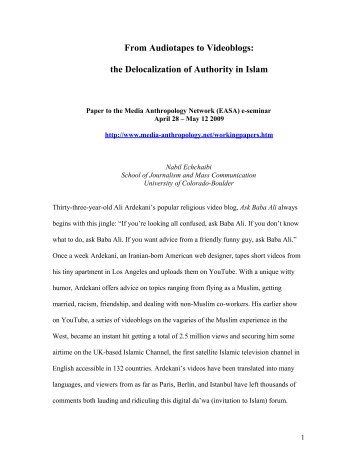 From audiotapes to videoblogs: the delocalization of authority in Islam