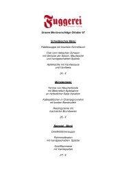 Menüvorschläge Oktober - Fuggerei