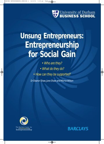 Unsung Entrepreneurs: Entrepreneurship for Social Gain