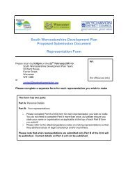 South Worcestershire Development Plan Proposed Submission ...