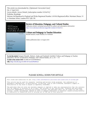 Review of Education, Pedagogy, and Cultural Studies Culture and ...