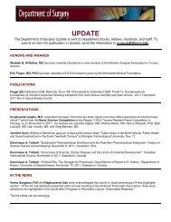 UPDATE - Surgery - University of Minnesota