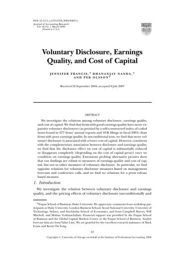 Voluntary Disclosure, Earnings Quality, and Cost of Capital