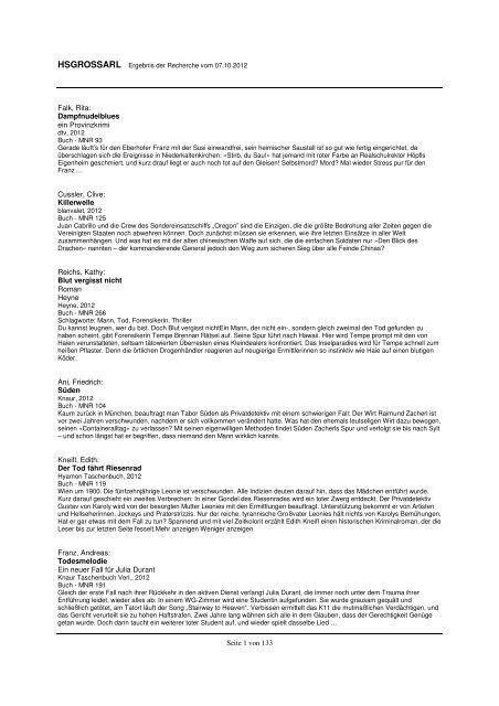 Bucherliste Gemeinde