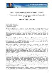 DISCOURS DE M. LE PRESIDENT DE LA REPUBLIQUE A l ...