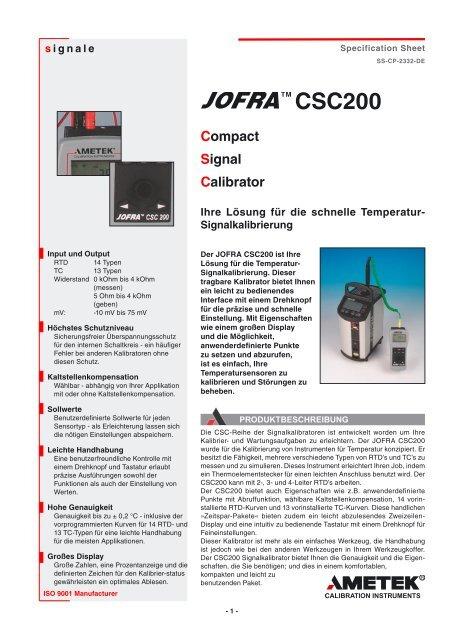 CSC200 Compact Signal Calibrator - PK elektronik Poppe GmbH