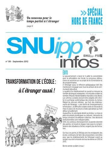 SNUIPP infos de rentrée : à diffuser largement