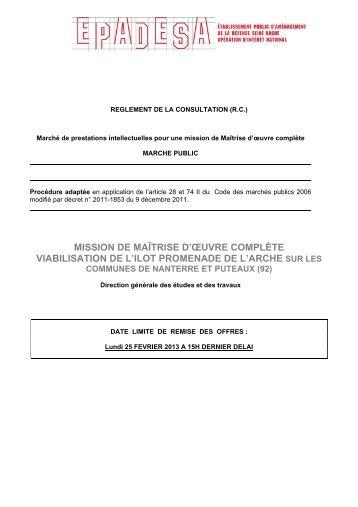 MISSION DE MAÎTRISE D'ŒUVRE COMPLÈTE ... - Epadesa