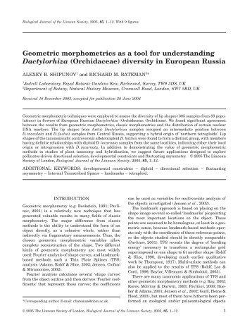Geometric morphometrics as a tool for understanding Dactylorhiza ...