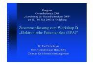"""Zusammenfassung zum Workshop D """"Elektronische Patientenakte ..."""