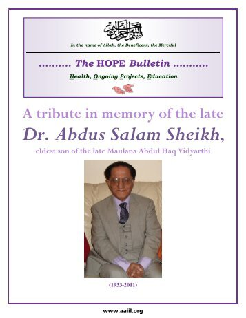 October 2011 Supplement - Ahmadiyya Anjuman Isha'at-e-Islam ...