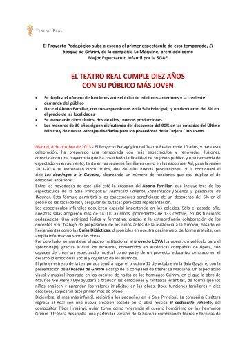 Presentación del Proyecto pedagógico 13/14 - Teatro Real