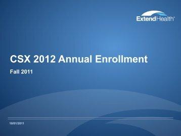 CSX 2012 Annual Enrollment - Extend Health