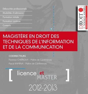 plaquette de formation - UFR Droit et Sciences Sociales - Université ...