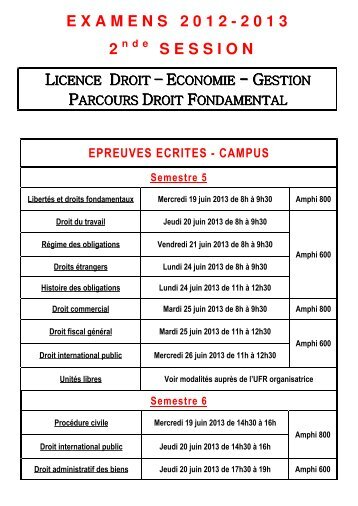 EXAMENS 2012-2013 2 SESSION - UFR Droit et Sciences Sociales