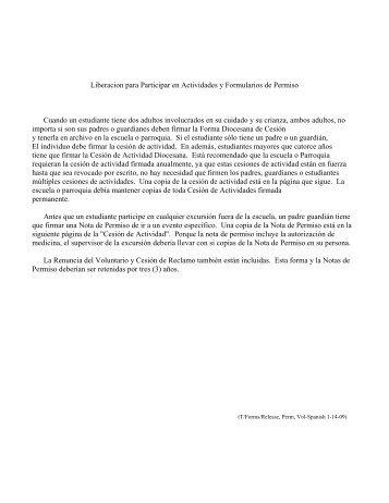 Liberacion para Participar en Actividades y Formularios de Permiso ...