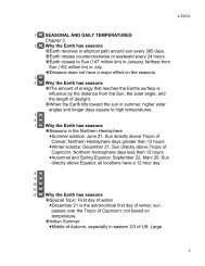 SEASONAL AND DAILY TEMPERATURES Chapter 3 Why the Earth ...