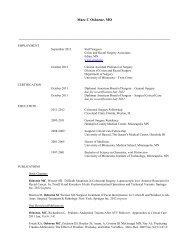 Curriculum Vitae - Surgery - University of Minnesota
