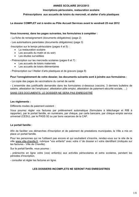 Dossier D Inscription Activitã S Periscolaires Ville