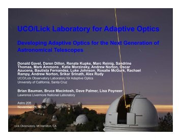 Astro 205 presentation - Laboratory for Adaptive Optics - UCO/Lick ...