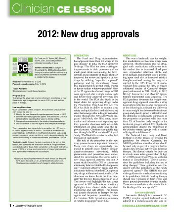 2012: New drug approvals - Partners in Healthcare Education