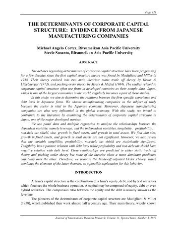 the determinants of corporate capital structure: evidence from ...