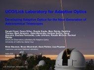 UCO/Lick Laboratory for Adaptive Optics Developing Adaptive ...
