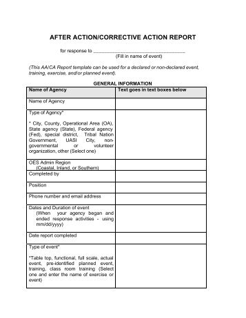 After Action/Corrective Action Report Template