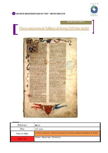 Flores sanctorum de l'abbaye de Sorèze - Archives départementales