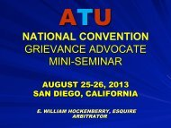 NATIONAL CONVENTION GRIEVANCE ADVOCATE MINI-SEMINAR
